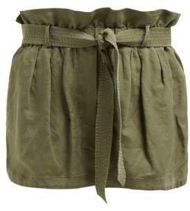 Paperbag Waist Linen Blend Shorts - Womens - Green
