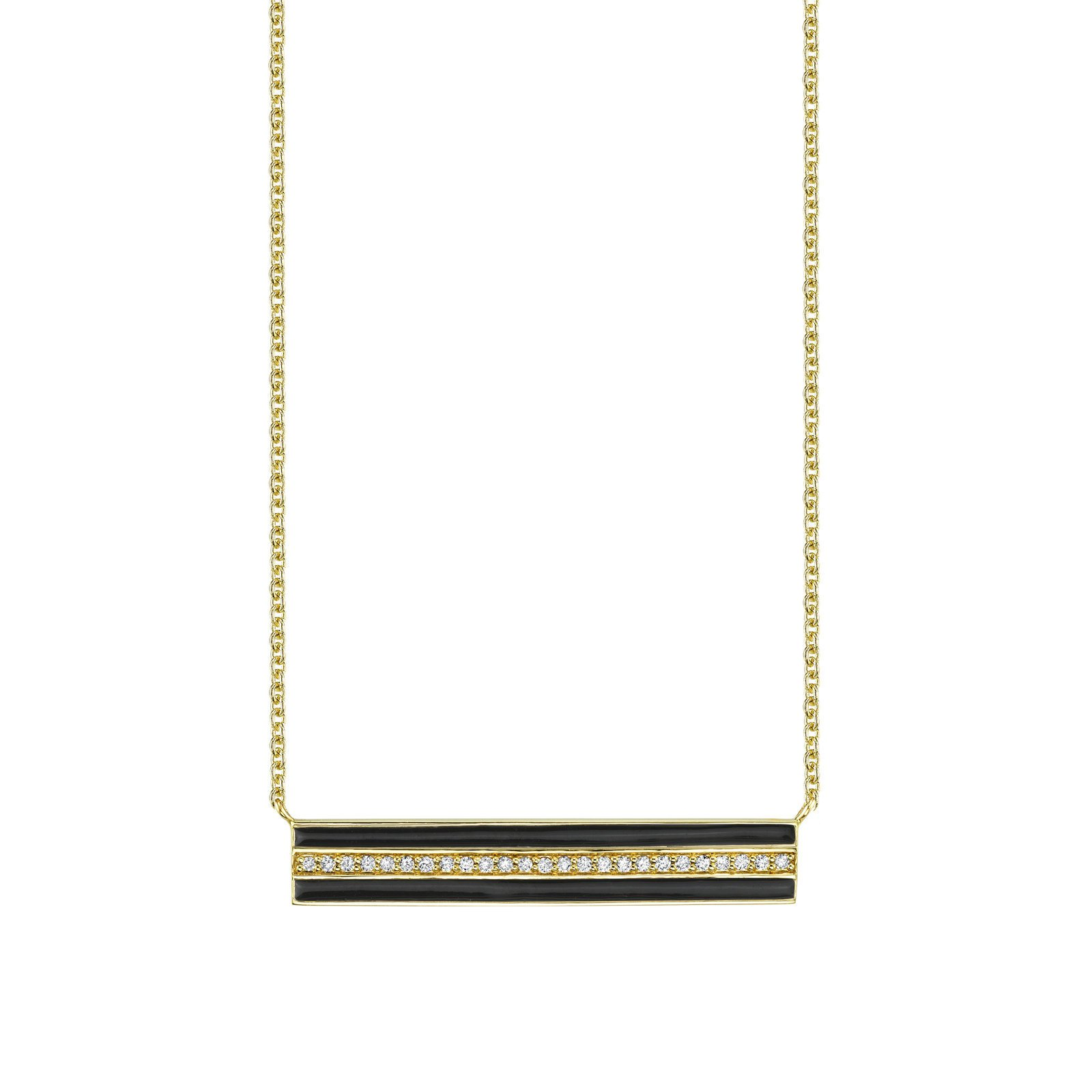 Sydney Evan Enamel Stripe And Pave Bar Necklace