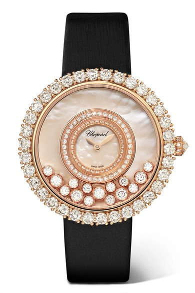Chopard | Montre en or rose 18 carats, diamants et nacre à bracelet en satin Happy Dreams 36 mm | NET-A-PORTER.COM