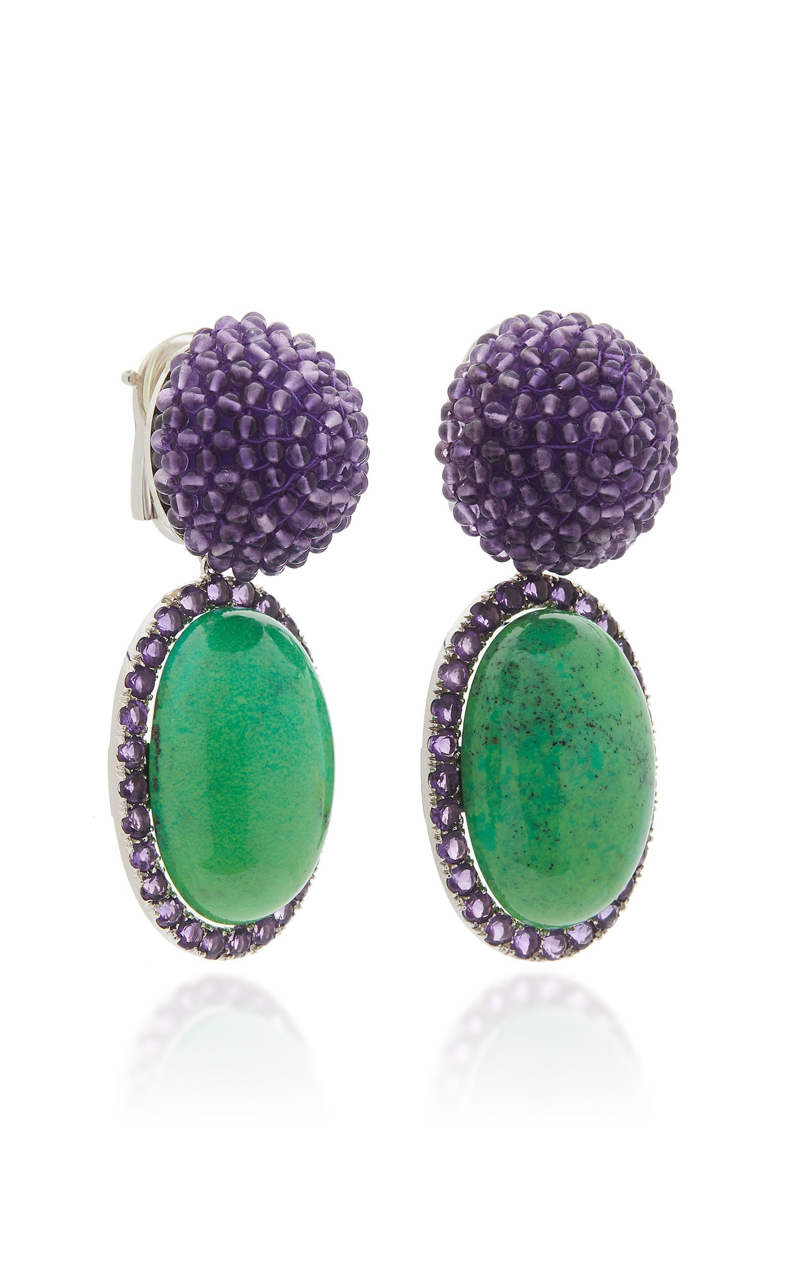 Sabbadini 18K Gold Turquoise And Amethyst Earrings