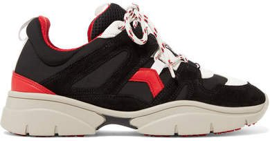 Kindsay Suede, Leather And Mesh Sneakers - Black