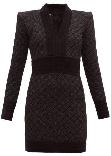 Metallic Jacquard Knit Mini Dress - Womens - Black Silver