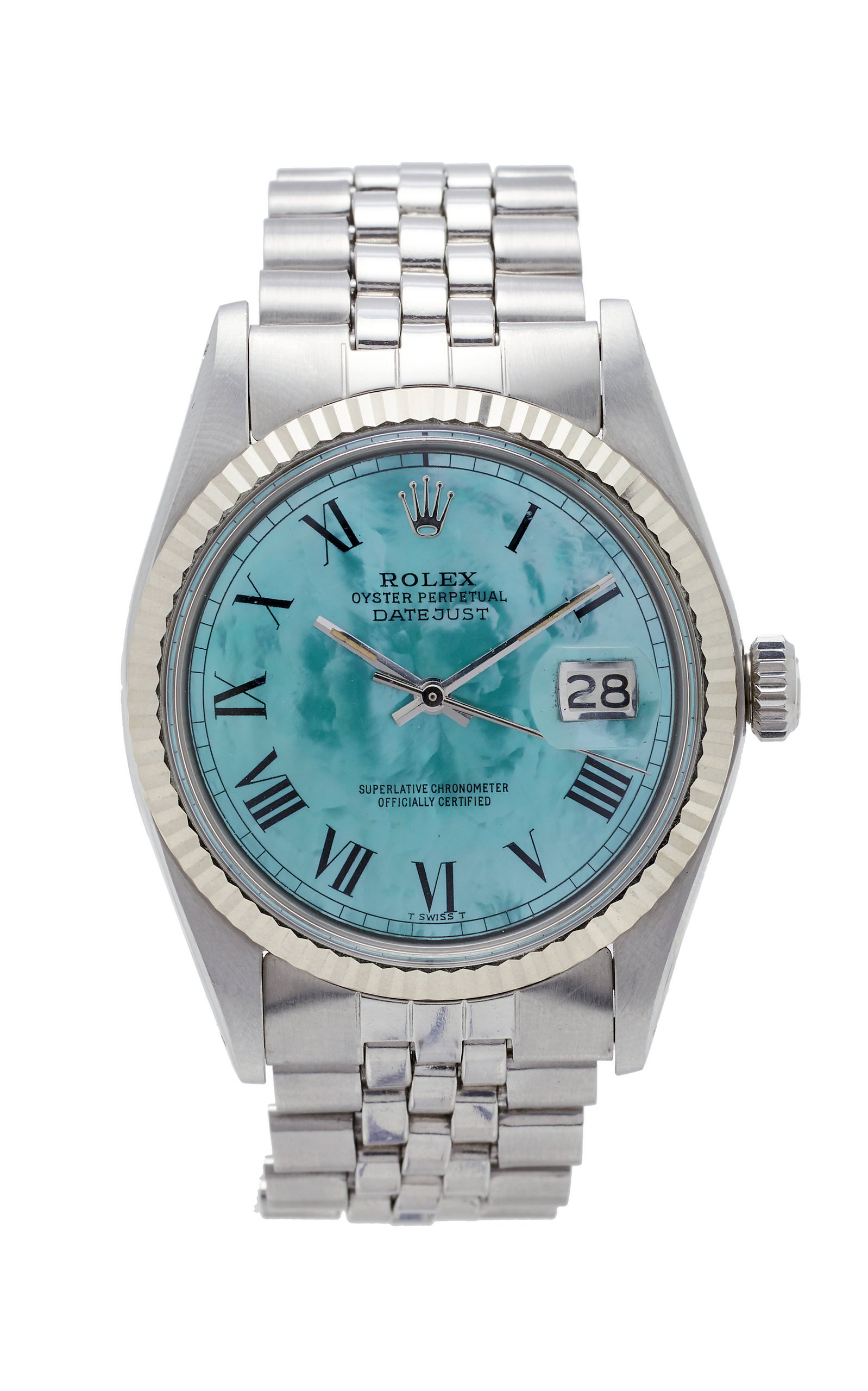 Vintage Watches Rolex Datejust 36mm Aqua Green Pearlized Roman Dial