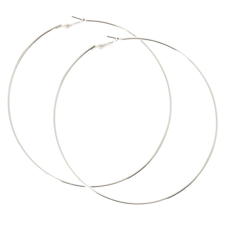 120MM Silver-tone Skinny Hoop Earrings | Claire's US