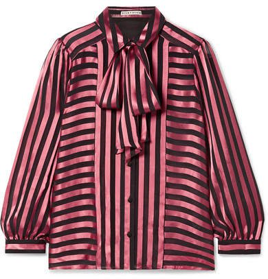 Alice Olivia - Willis Pussy-bow Striped Satin And Chiffon Blouse - Pink