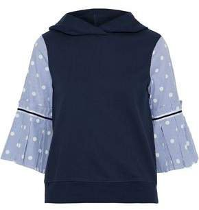 Printed Poplin-paneled French Cotton-terry Hoodie
