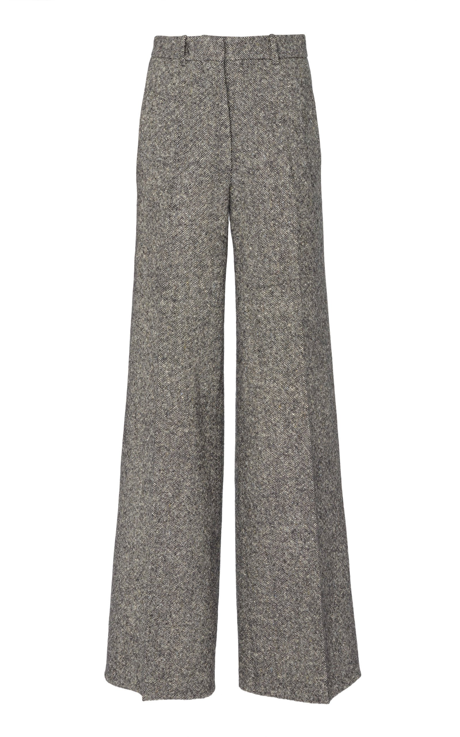Victoria Beckham Wool-Tweed Wide-Leg Pants Size: 6