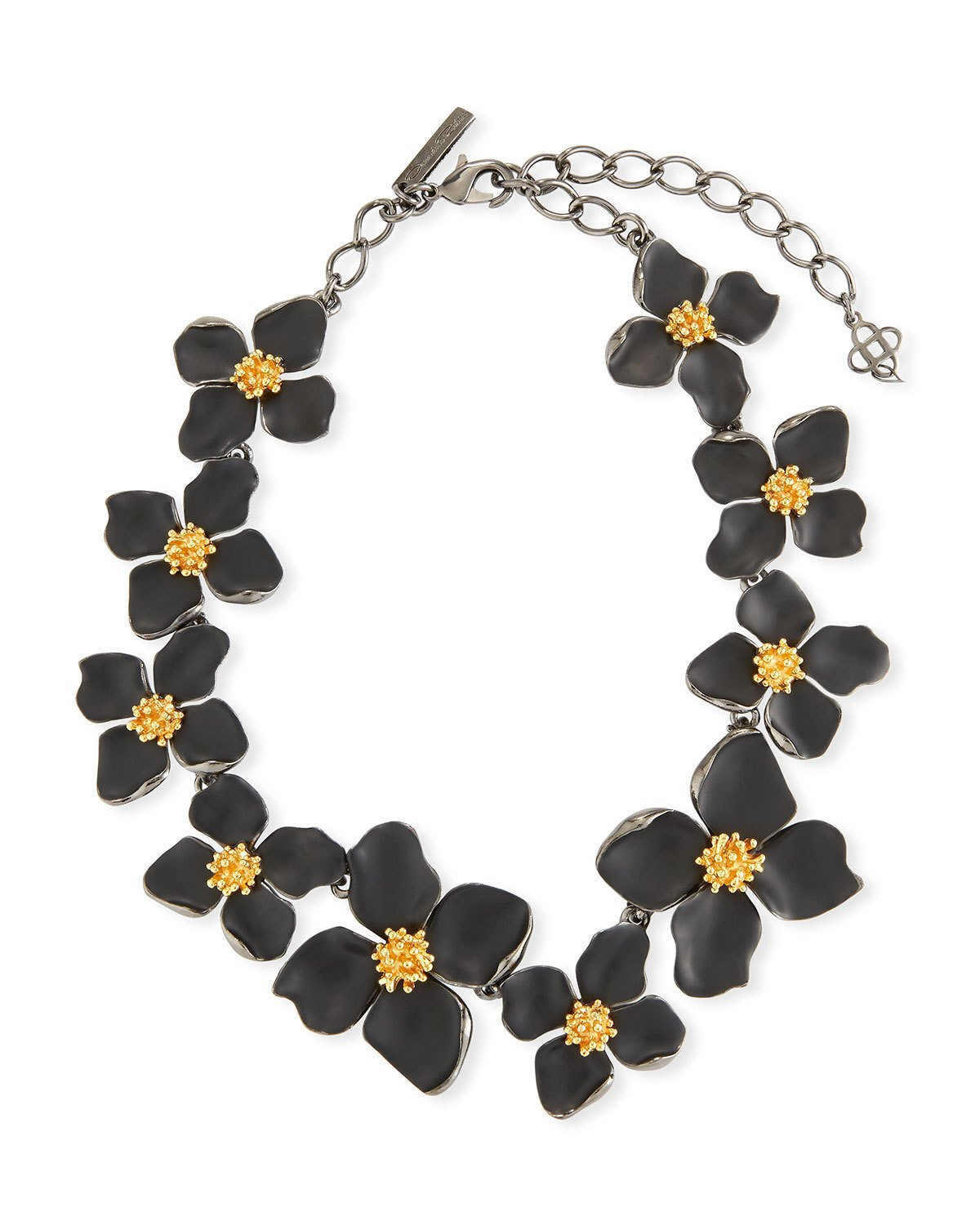 "Oscar de la Renta 16"" Painted Flower Collar Necklace"