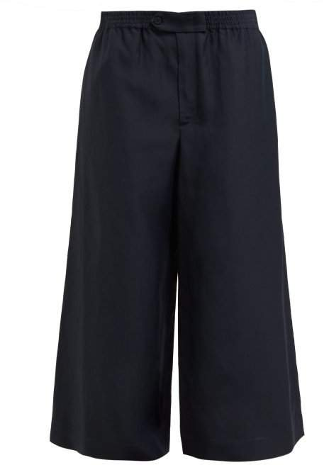 Wide Leg Trousers - Womens - Dark Navy