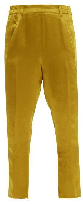 Cropped Hammered Satin Trousers - Womens - Yellow