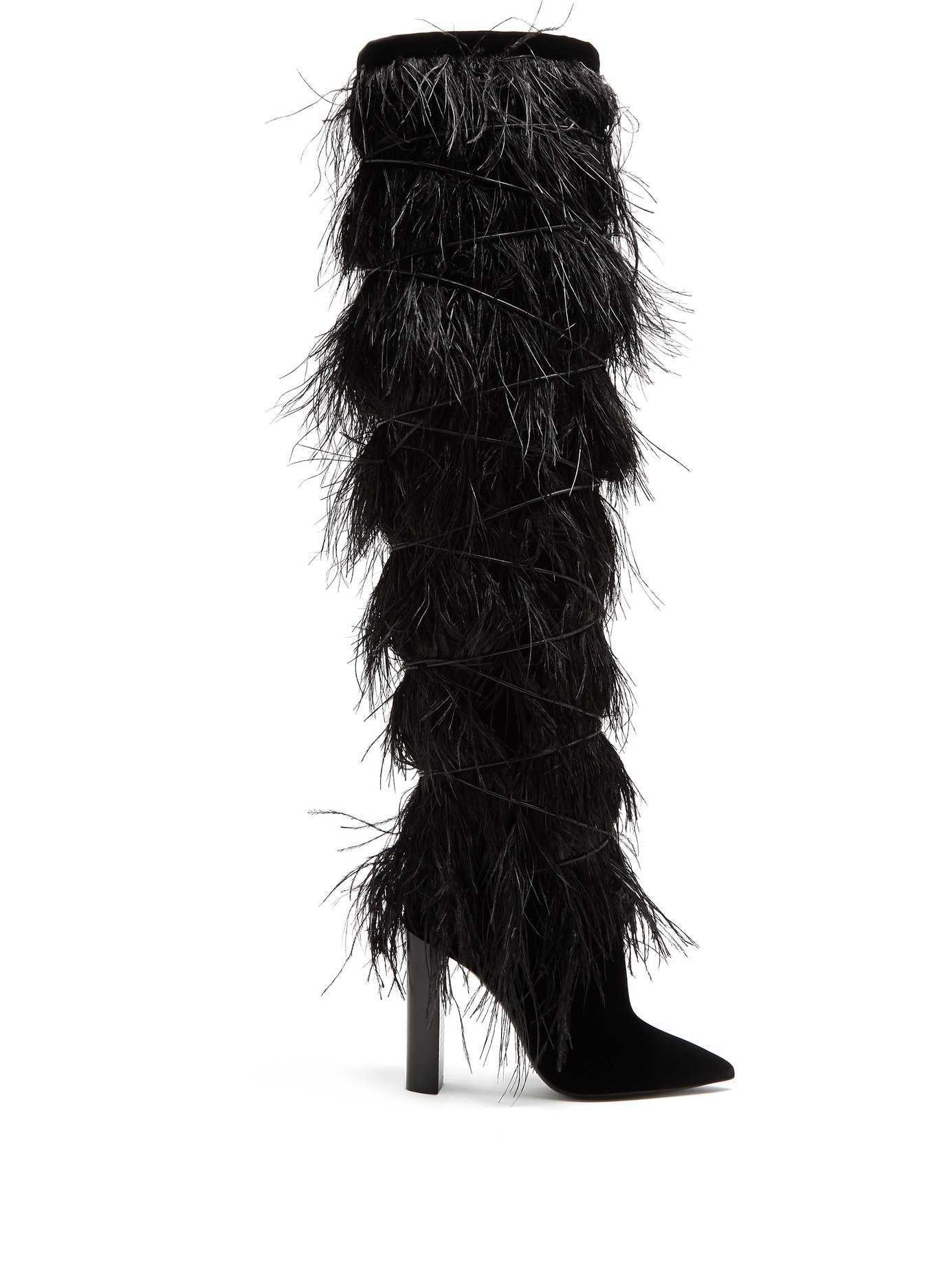 Yeti feather-embellished over-the-knee boots | Saint Laurent | MATCHESFASHION.COM US