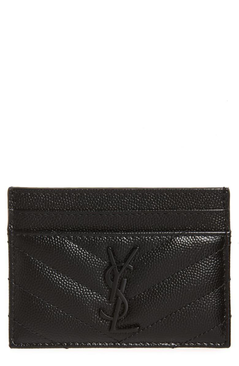 Saint Laurent Monogram Leather Card Case | Nordstrom