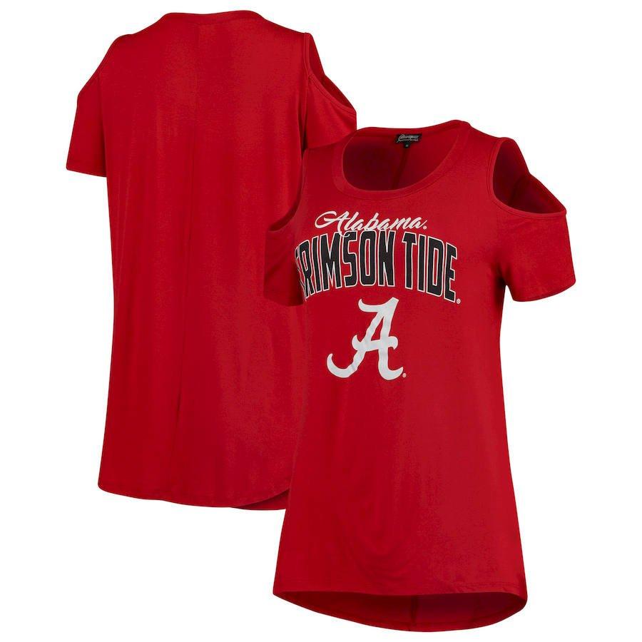 Alabama Crimson Tide Women's Cold Shoulder Flowy Top – Crimson