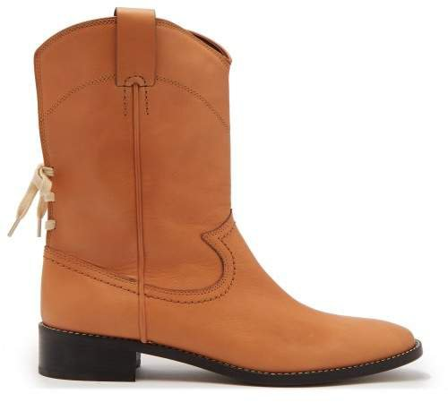Western Leather Boots - Womens - Light Tan