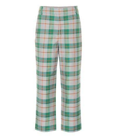 Plaid cotton-blend pants