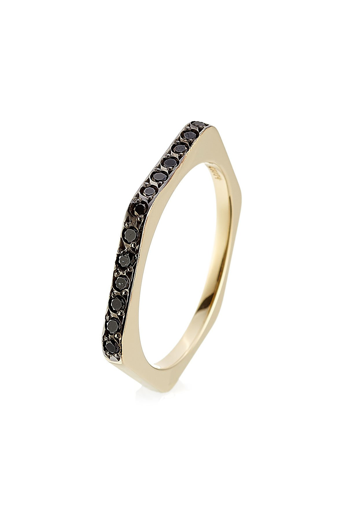 18kt Yellow Gold Ring with Black Diamonds Gr. 53