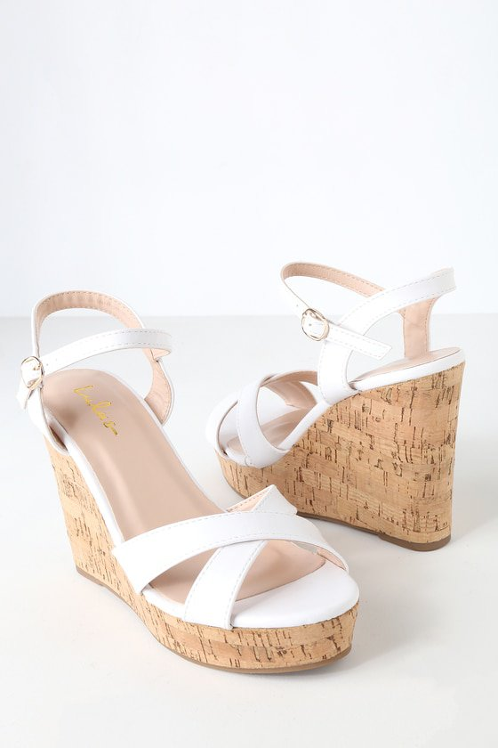 Cute White Sandals - Wedge Sandals - Cork Sandals