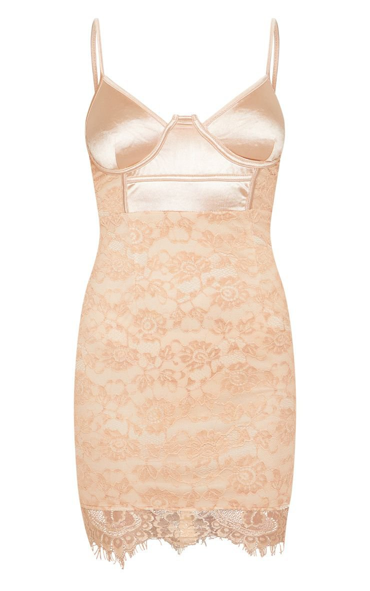 Dusty Pink Satin Top Buster Lace Bodycon Dress | PrettyLittleThing USA