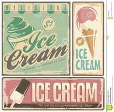 Vintage Ice Cream Sign - Pinterest