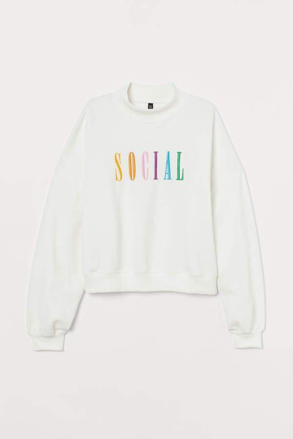 Mock-turtleneck Sweatshirt - White
