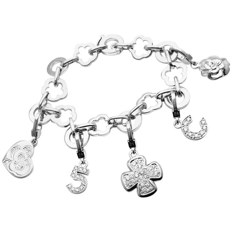 Chanel Camelia Camélia Five Diamond Charm White Gold Link Bracelet For Sale at 1stdibs
