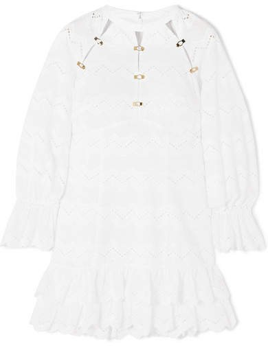 Ziggy Ruffled Broderie Anglaise Cotton Mini Dress - White