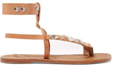 Enga Studded Leather Sandals - Tan