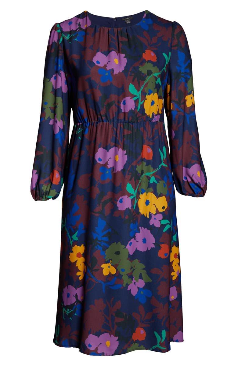 Halogen® Long Sleeve Midi Dress blue