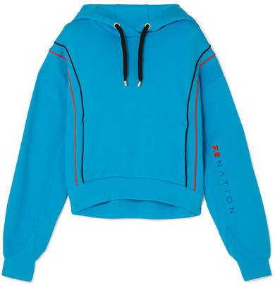 Lineal Success Cropped Cotton-jersey Hoodie - Blue