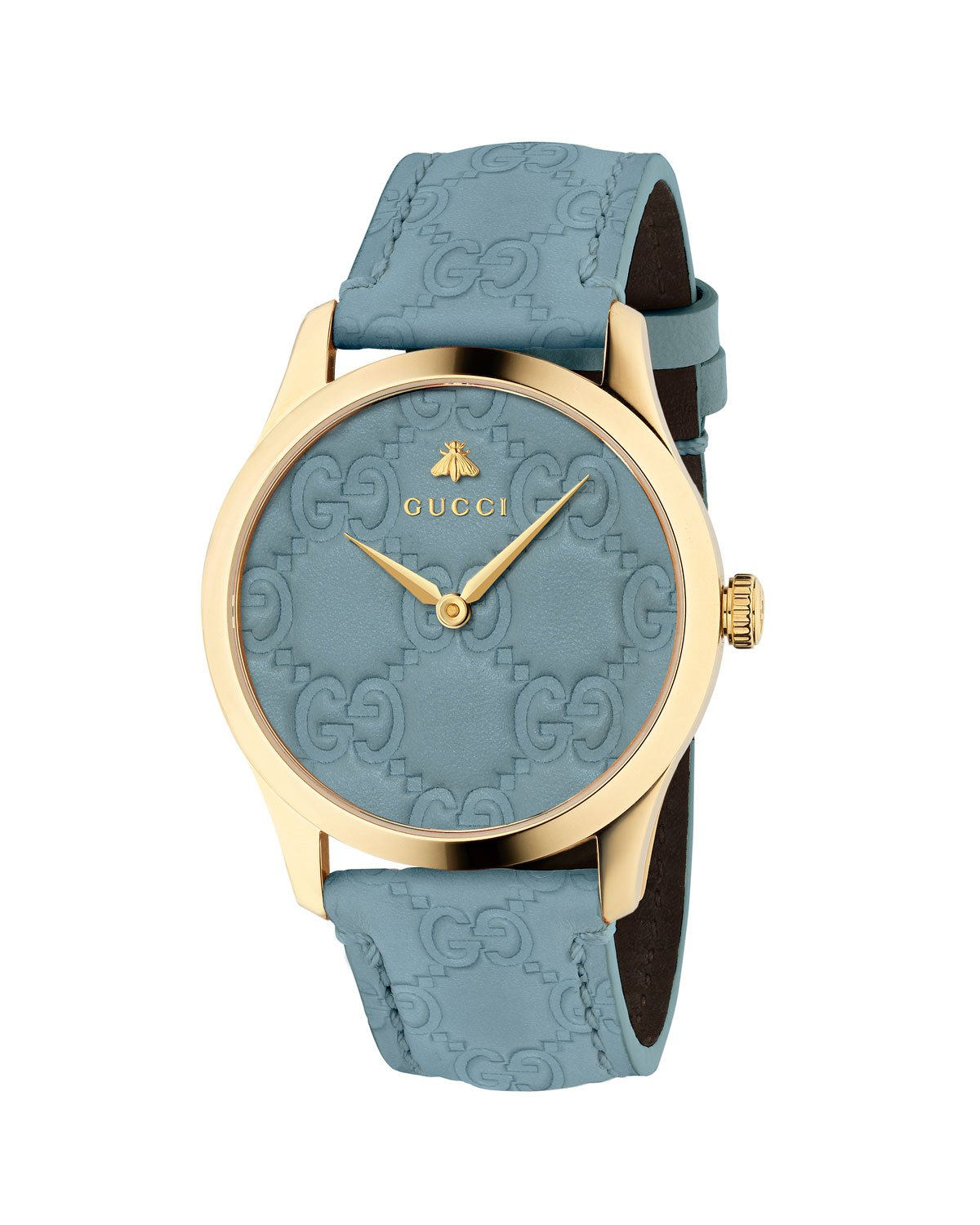 Gucci 38mm G-Timeless Logo Leather Watch