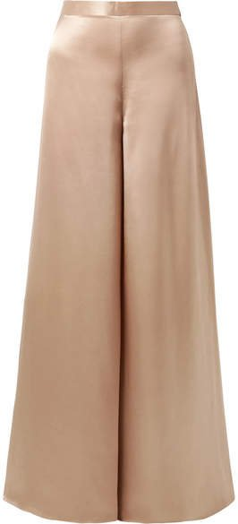 The Tommy Silk-charmeuse Wide-leg Pants - Neutral