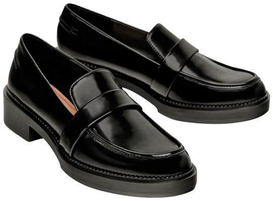 Zara Black Leather Loafers Flats Size US 6.5 Regular (M, B) - Tradesy