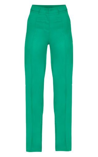 Green High Waisted Straight Leg Trousers | PrettyLittleThing