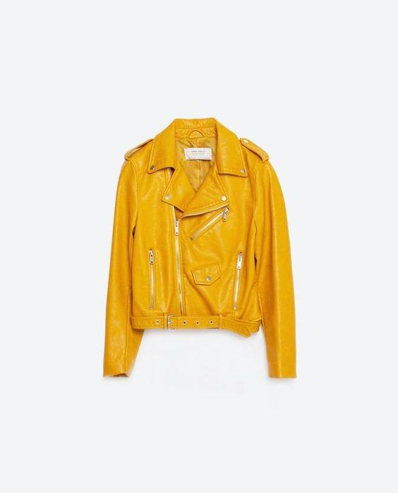 Zara Yellow Faux Leather Jacket
