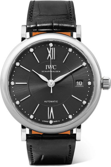 IWC SCHAFFHAUSEN | Portofino Automatic 37mm stainless steel, alligator and diamond watch | NET-A-PORTER.COM