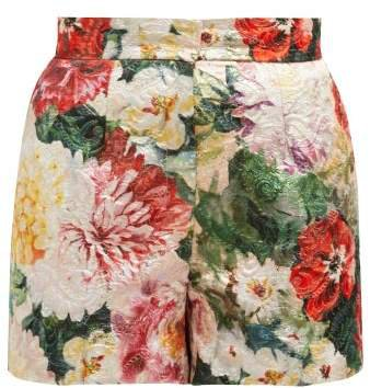 Floral Print Brocade Shorts - Womens - Ivory Multi
