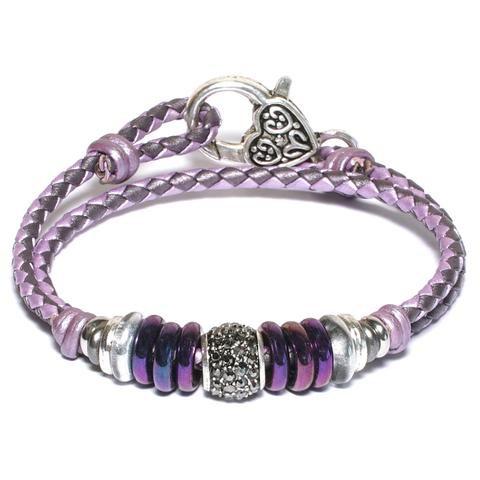 Mini Juliette in Purple Braided Leather Wrap Bracelet by Lizzy James