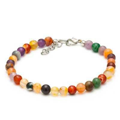 Multi Color Agate Gemstone Anklet | Women's Ankle Bracelets - Mystic Self LLC