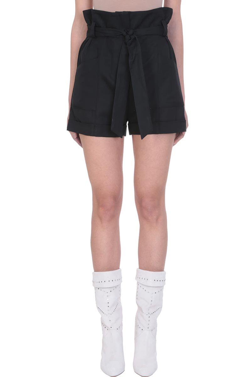 IRO Lux Black Cotton High Waist Shorts