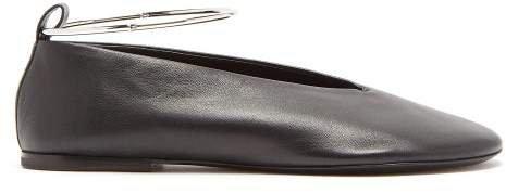 Leather Ballet Flats - Womens - Black