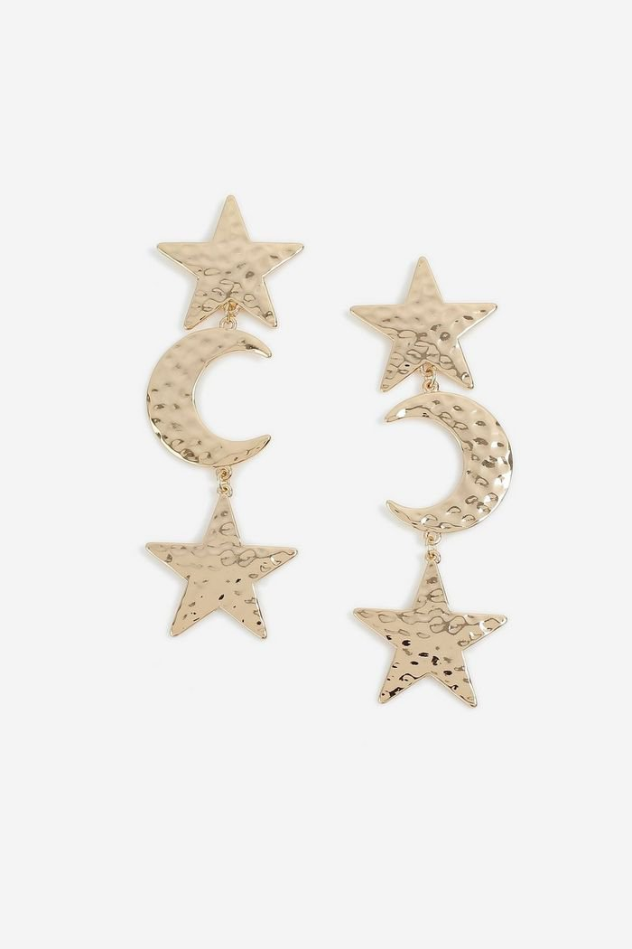 **Gold Star and Moon Drop Earrings   Topshop