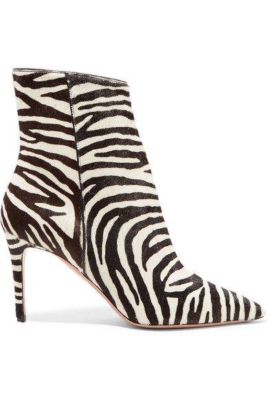 Aquazzura | Alma 85 zebra-print calf hair ankle boots | NET-A-PORTER.COM