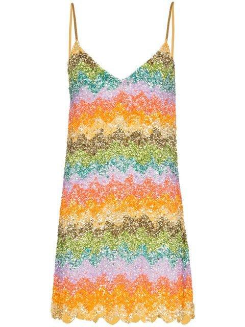 Ashish rainbow sequin embellished slip dress