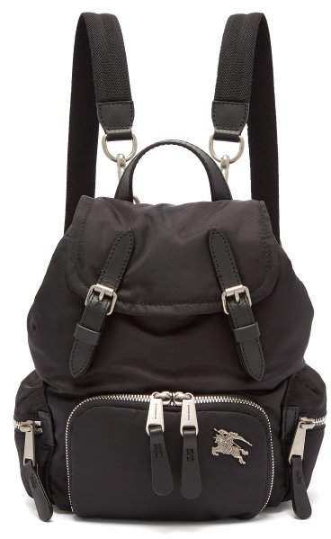 Small Logo Plaque Backpack - Womens - Black
