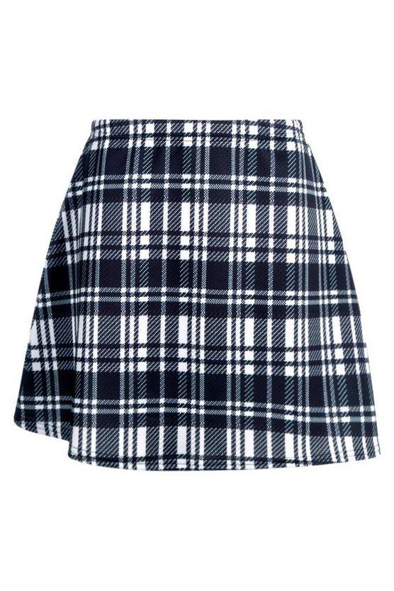 Monochrome Check A Line Mini Skirt | Boohoo