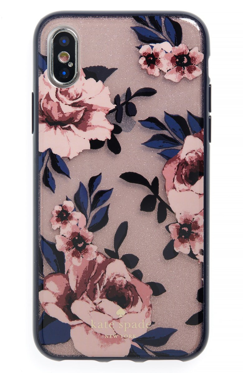 kate spade new york glitter prairie rose iPhone X case