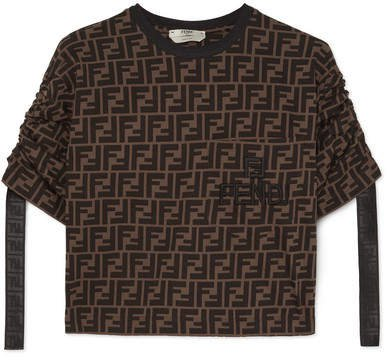 Cropped Printed Cotton-jersey T-shirt - Brown
