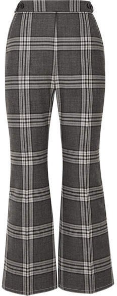 Cropped Checked Wool Flared Pants - Dark gray