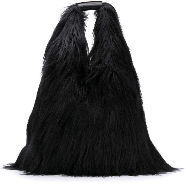 borsa faux-fur tote bag