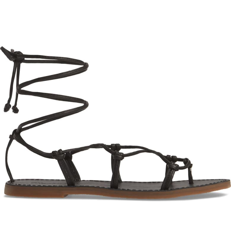 Madewell The Boardwalk Lace-Up Sandal (Women) Black